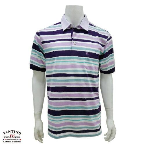 【FANTINO】男裝 65支雙絲光棉彩條POLO衫 431323 0