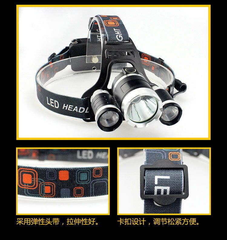 [Unifiy]  T6 3顆頭燈 強光頭頭戴式頭燈 鋰電池充電防水釣魚頭燈 探照燈 工作燈 照明燈 維修燈 9
