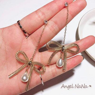 耳環《可改耳夾式》《可改S925銀針》歐美風金屬彈簧蝴蝶結珍珠耳針【RA0095】