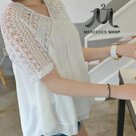 梅西蒂絲Mercedes Shop:《全店75折》新款時尚大牌蕾絲拼接短袖雪紡衫(2色)-梅西蒂絲(現貨+預購)
