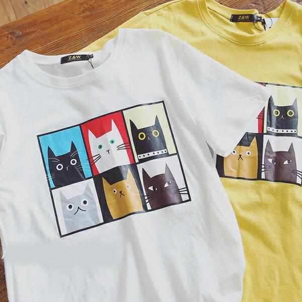 T恤 情侶裝 客製化 MIT 製純棉短T 班服◆ 出貨◆ 配對情侶裝.六格貓【YC604】可單買.艾咪E舖