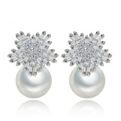 純銀耳環鍍白金鑲鑽耳飾~ 婚禮晚宴焦點情人節生日 女飾品73cr125~ ~~米蘭 ~