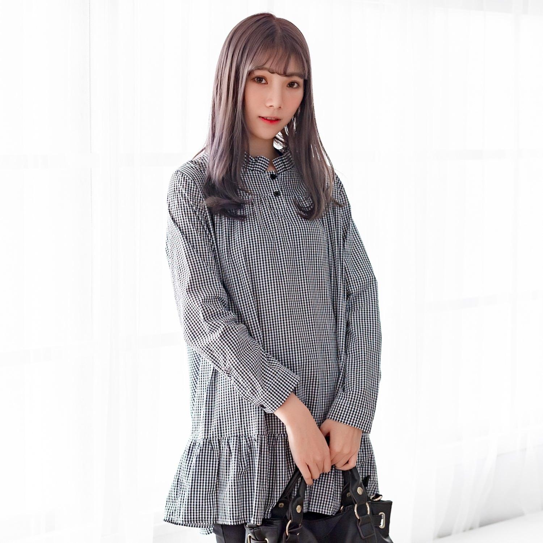 襯衫洋裝--經典可愛撞色格紋百褶立領荷葉裙娃娃裝長版上衣(黑XL-4L)-X367眼圈熊中大尺碼 0