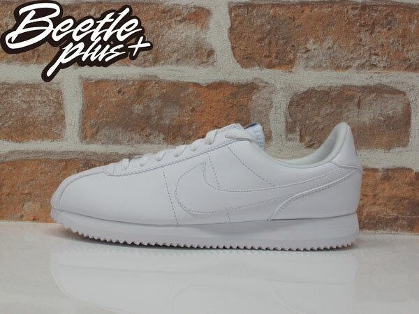 男生 BEETLE PLUS 全新 商品 現貨 NIKE CORTEZ BASIC LEATHER 阿甘鞋 慢跑鞋 白勾 全白 復古 819719-110 D-645 US 9.5 10.5