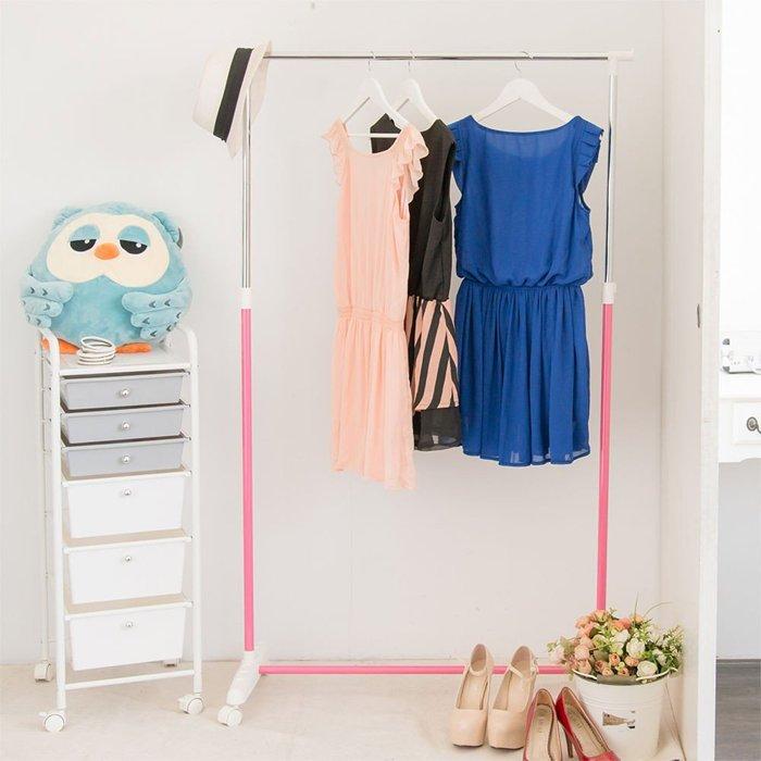 [tidy house]【免運費】馬卡龍粉嫩單桿衣架曬衣架吊衣架收納架掛衣架置物架衣櫥架-粉紅HG20C-PK