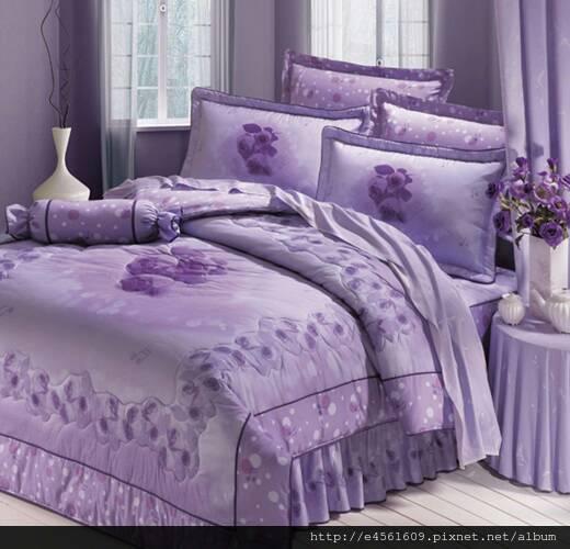 [床工坊-紫色迷情] 100%高級精梳棉八件式床罩 - 限時優惠好康折扣
