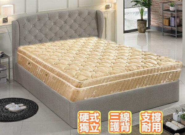 【床工坊】【桃園床墊工廠】硬式獨立筒 床墊 「真好眠」2.4mm 三線硬式護背獨立筒床墊 5尺雙人【送爸媽床首選】「歡迎訂做各式尺寸」 0