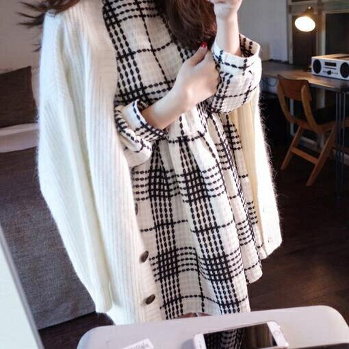 小香風洋裝 秋季新款韓版女裝修身顯瘦打底裙A字裙長袖格子洋裝