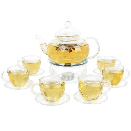 Kendal 27 oz glass filtering tea maker teapot with a warmer and 6 tea cups CJ-BS814