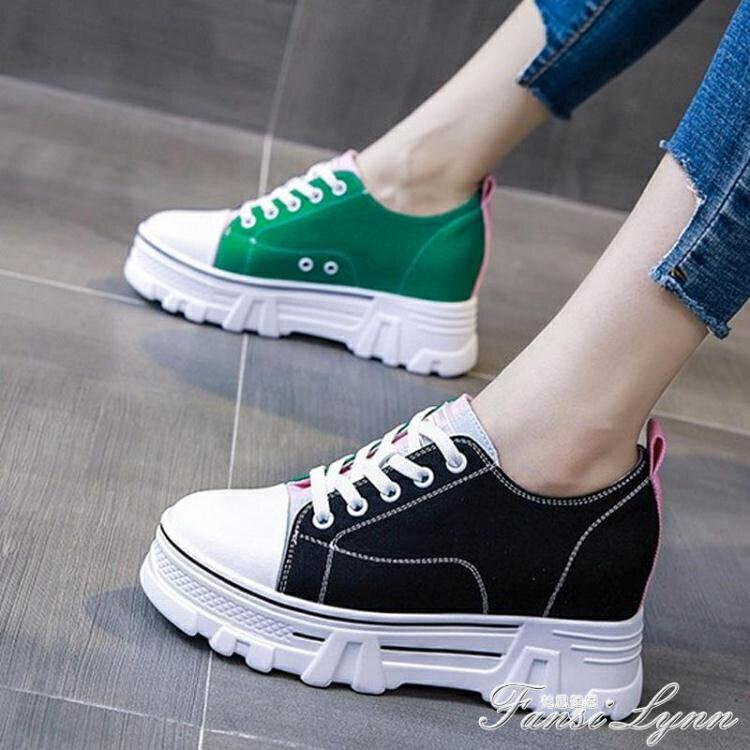 小白鞋女2020夏季新款薄款透氣厚底內增高百搭帆布運動休閒板鞋潮