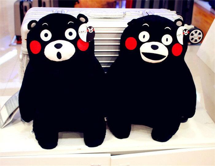 vivi shop 日本款黑熊公仔抱枕 熊本縣吉祥物KUMAMON優質毛絨公仔玩具娃娃 二合一抱枕 車上、辦公靠墊
