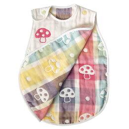 免運費 日本製 Hoppetta 背心 蘑菇防踢背心 六重紗 六層紗防踢被