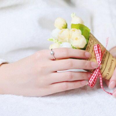 ★925純銀戒指鑲鑽銀飾-一生只有你浪漫鑲鑽七夕情人節生日禮物女配件73an133【獨家進口】【米蘭精品