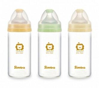 【寶貝樂園】小獅王辛巴超輕鑽寬口直圓玻璃小奶瓶180ml