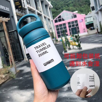 保溫瓶 350ml 大容量磨砂保溫杯 咖啡杯 手提 保冷 保溫 輕量 304 不銹鋼 ins便攜