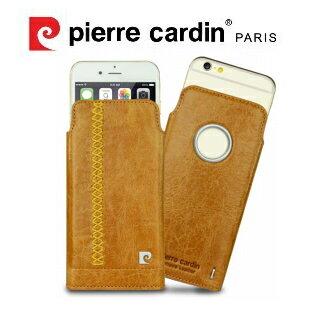 [ iPhone 6 ] Pierre Cardin 法國皮爾卡登4.7吋流水紋真皮抽取式手機套/皮套 棕色