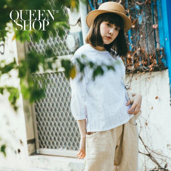 QueenShop【01120142】刺繡花卉圖案拼接棉麻上衣*預購*