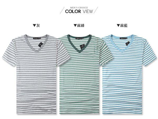 ☆BOY-2☆【PPK82110】韓簡約V領條紋素面短T 1