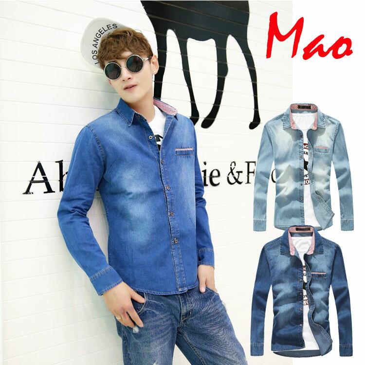 Mao 日韓新品牛仔布潮流常規修身尖領款長袖襯衫