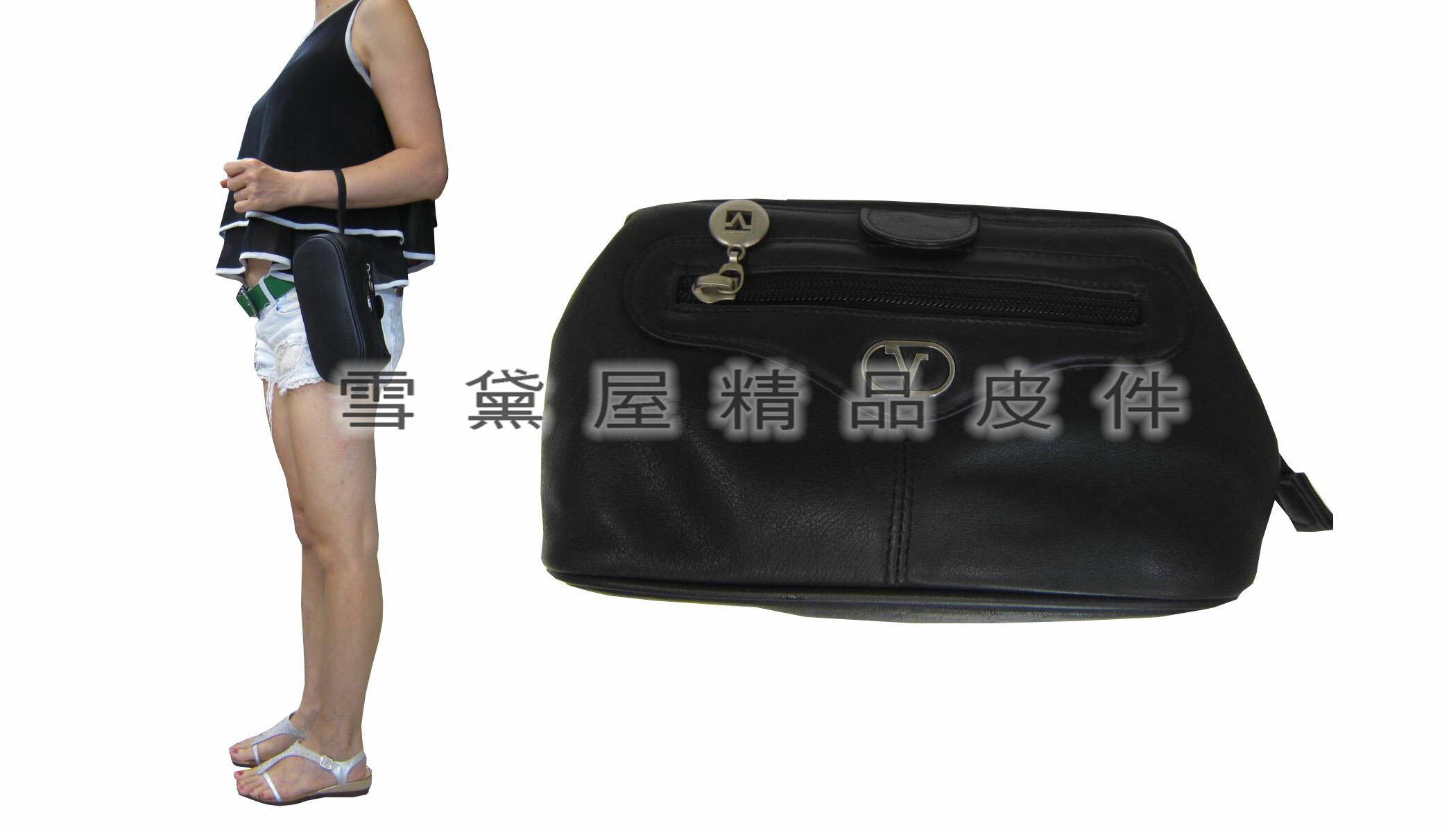 ~雪黛屋~Valentino 手拿包小容量框型拉鍊主袋正版分類袋手拿包100%進口牛皮革材質隨身物品男女適用V2096