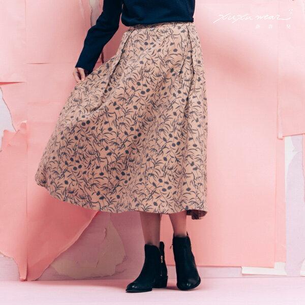 許許兒:許許兒xKapuwa渺渺森林-木刻染印花八分裙-藕粉