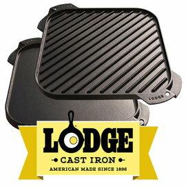 【鄉野情戶外專業】 Lodge |美國| LODGE 10.5方型煎盤 鑄鐵烤盤 荷蘭鍋雙面鐵板 LSRG3