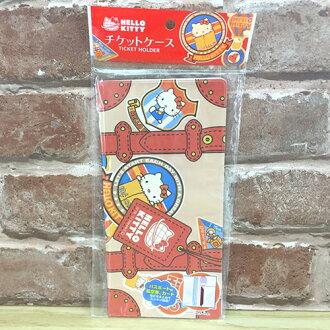 【真愛日本】17080500002 膠皮護照卡片套-KT行李風 三麗鷗 kitty 凱蒂貓 卡片收納包 居家生活