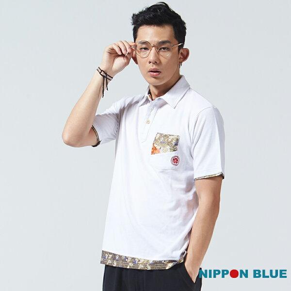 【新品免運↘】浪花雙拼布POLO衫(白)-BLUEWAYNIPPONBLUE日本藍