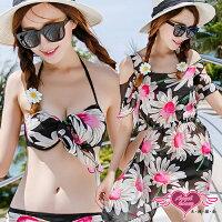 泡湯推薦到天使甜心 EE1539黑 夏日花朵罩衫鋼圈三件式比基尼泳裝泳衣M~XL 溫泉SPA泡湯