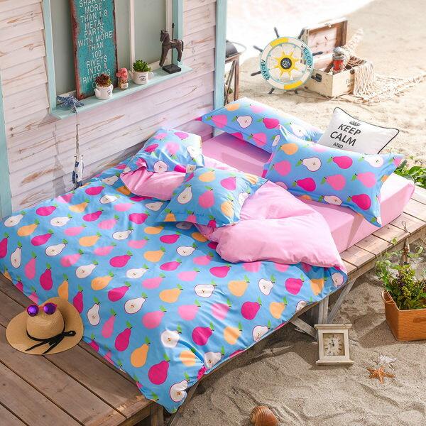 柔絲絨 被套床包組 雙人四件式-水果特調系列-鮮梨果茶/ 哇哇購