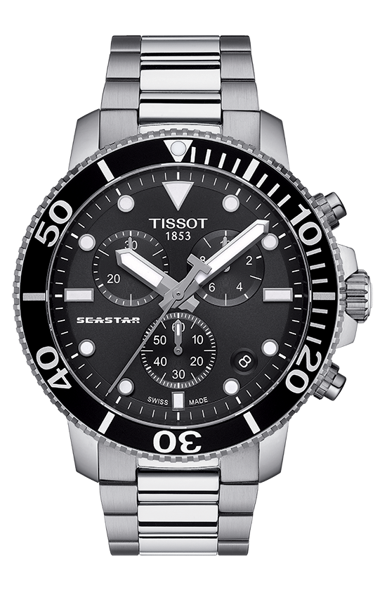 TISSOT 天梭 T1204171105100 SEASTAR海洋之星潛水錶 小鬼配戴款 黑 鋼帶 45.5mm 0