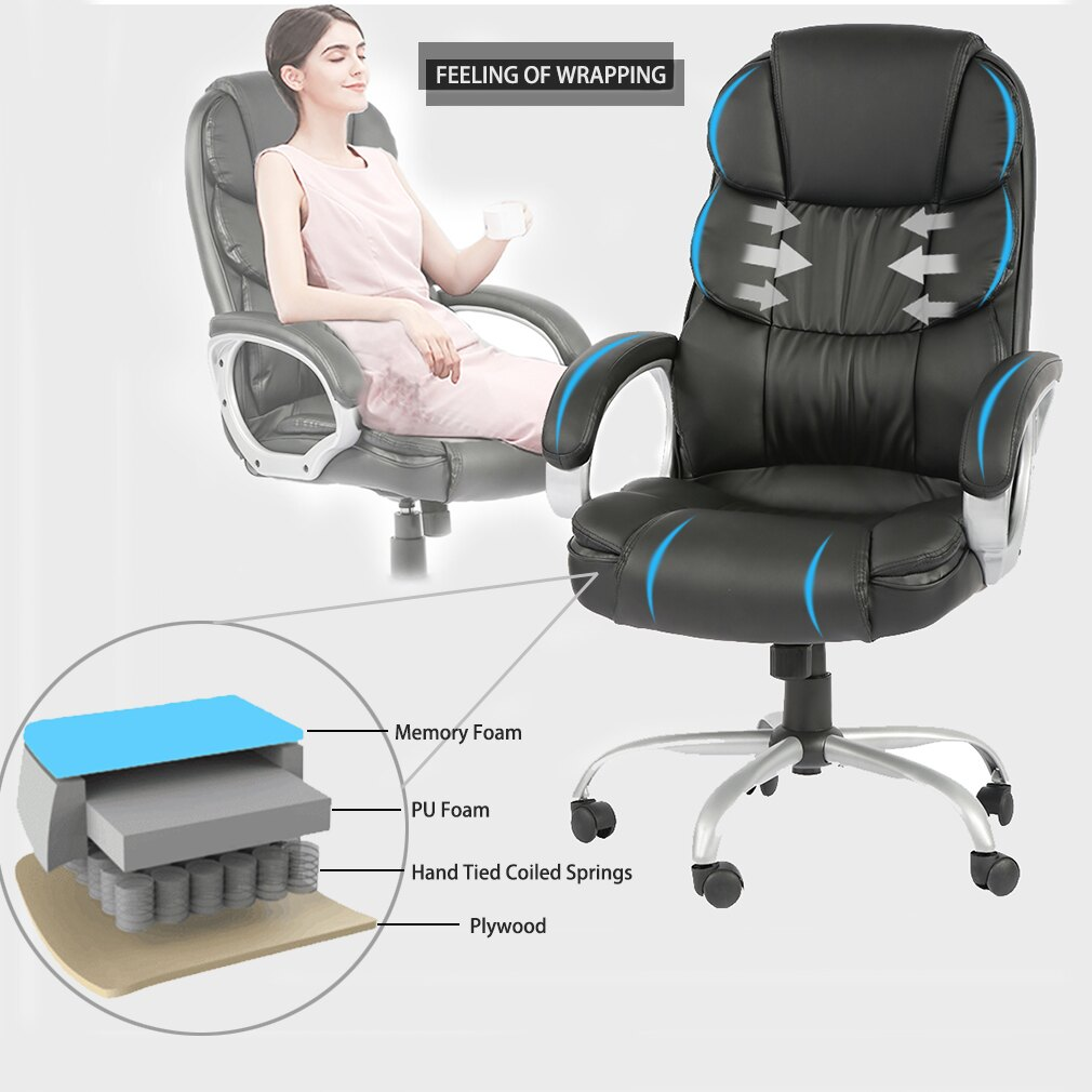 Office Chair Desk Ergonomic Swivel Executive Adjustable Task Computer High  Back Chair With Back Support In Home