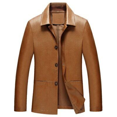 ★皮衣夾克外套-翻領純色商務短款男夾克2色73pn24【獨家進口】【米蘭精品】 2