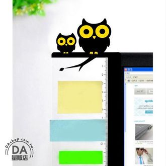 《DA量販店》可愛電腦側邊留言板 壓克力螢幕便利貼 備忘便利貼板 貓頭鷹左(V50-1329)