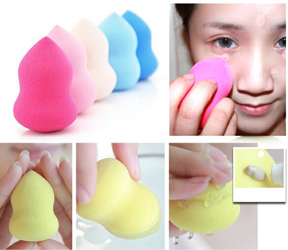 Waterdrop Beauty Makeup Cosmetic Cotton Soft Sponge Egg Cleaner Face Power Puff Calabash Shape 3