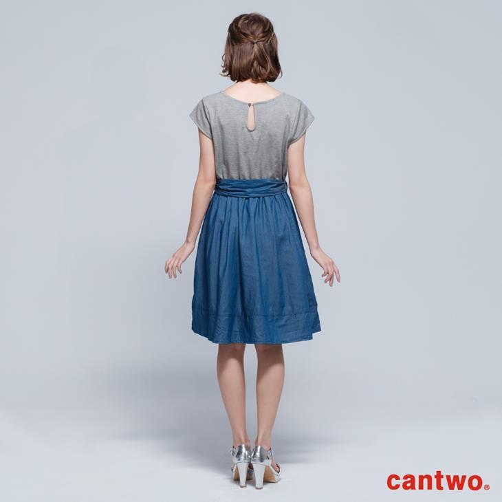 cantwo鑽飾小包袖丹寧系洋裝(共三色) 3