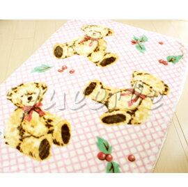 【悅兒樂婦幼用品?】日本西川 三熊發熱中童毯100x140cm (粉色)