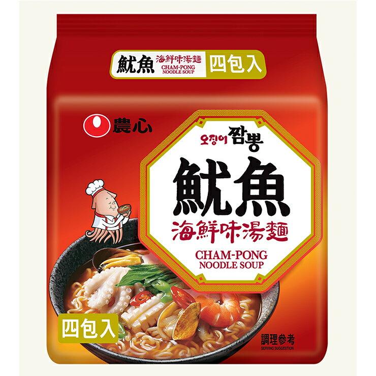 【農心】魷魚海鮮味湯麵  4入袋裝 496g
