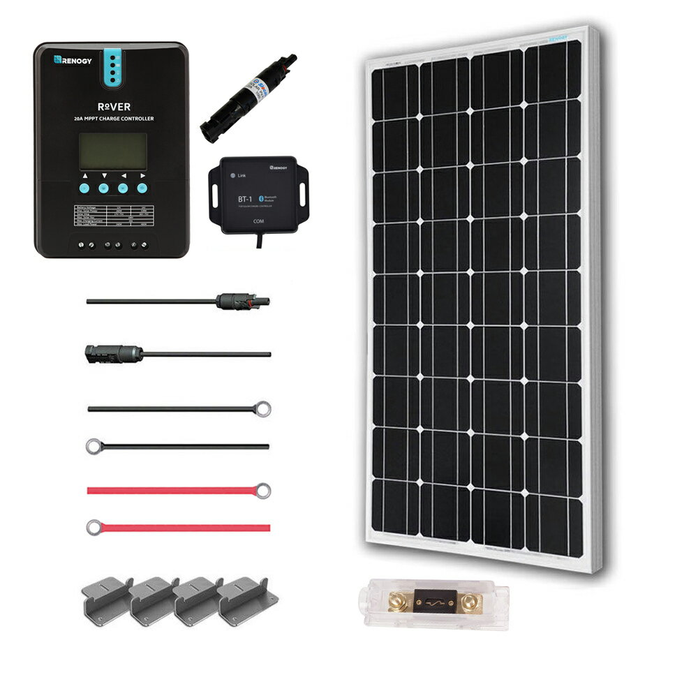 Renogy 100 Watt 12 Volt Off Grid Solar Premium Kit with Monocrystalline Solar Panel and 20A MPPT Rover Controller 0