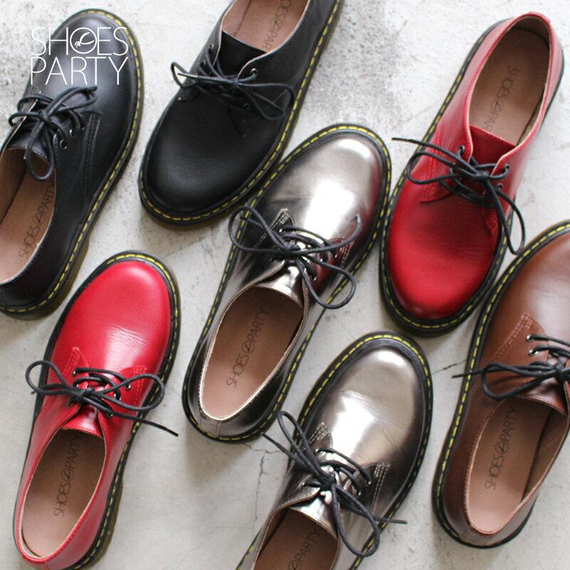 【C2-17122L】全真皮軟鞋墊3孔綁帶厚底休閒鞋_Shoes Party 0
