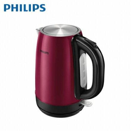 【Philips 飛利浦】1.7公升不鏽鋼快煮壺 勃艮第酒紅金屬(HD9322)