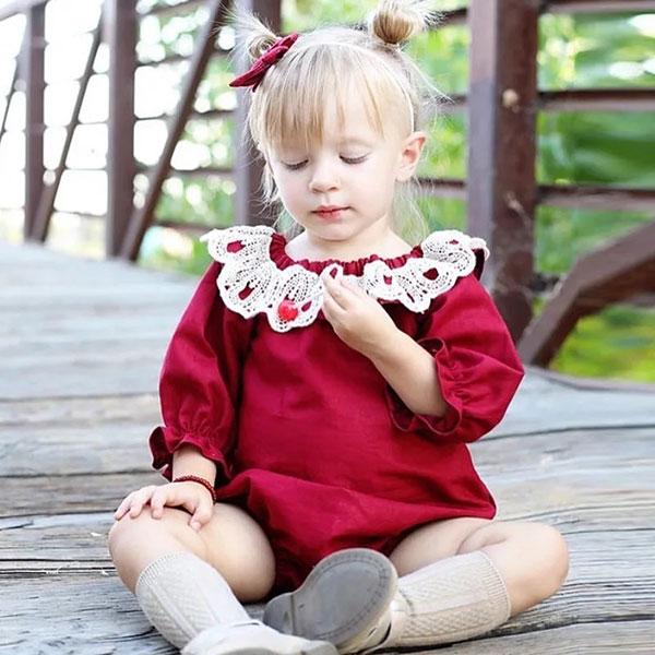 ins 大紅 蕾絲領 花苞袖 包屁衣 荷葉邊 長袖 燈籠袖 洋裝 衣 聖誕節 過年 紅 童 寶寶 歐美 ANNA S.