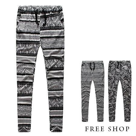 Free Shop【QM88867】街頭潮流民族風變形蟲幾何圖型腰頭鬆緊抽繩滿版休閒長褲哈倫褲‧三色