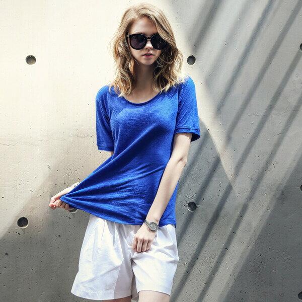 MRBARON ~ 風純色圓領寬松 T恤 ^(紅藍亮眼款^) ~  好康折扣