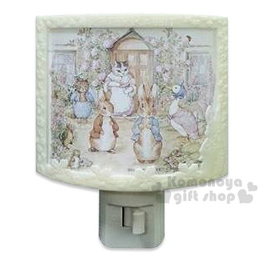 〔小禮堂〕彼得兔 LED造型小夜燈《白.世界.浮雕.半圓形》可手動式開關