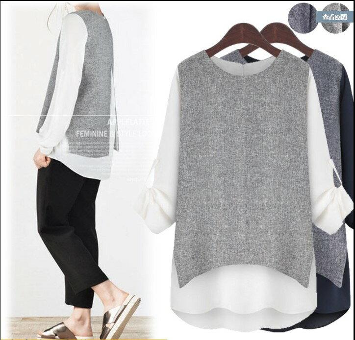 中大尺碼 歐美荷葉拼接雪紡時尚OL假兩件衫(XL~5XL) 御聖願 [灰調] 0