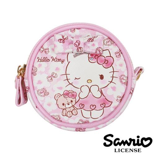 5334【日本進口正版】Hello Kitty 凱蒂貓 三麗鷗 人物系列 圓型 皮質 零錢包 SANRIO - 123688