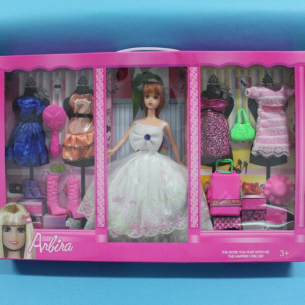 芭比娃娃+4件衣服+7入配件 YX004A-B實心洋洋娃/一盒入{促399}~生K671-2