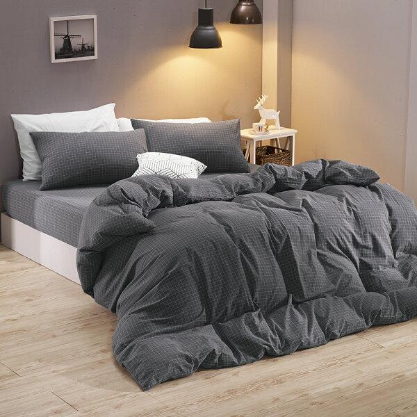 床包枕套雙人特大床包組色織水洗棉納維亞[鴻宇]台灣製2118