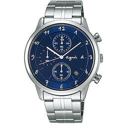agnes b VD57-00A0B(BM3006J1)法式時尚計時腕錶/藍面40mm